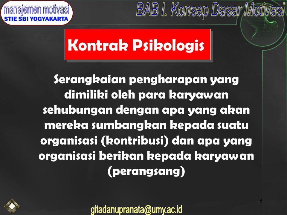 6 Kontrak Psikologis Serangkaian pengharapan yang dimiliki oleh para karyawan sehubungan dengan apa yang akan mereka sumbangkan kepada suatu organisasi (kontribusi) dan apa yang organisasi berikan kepada karyawan (perangsang)