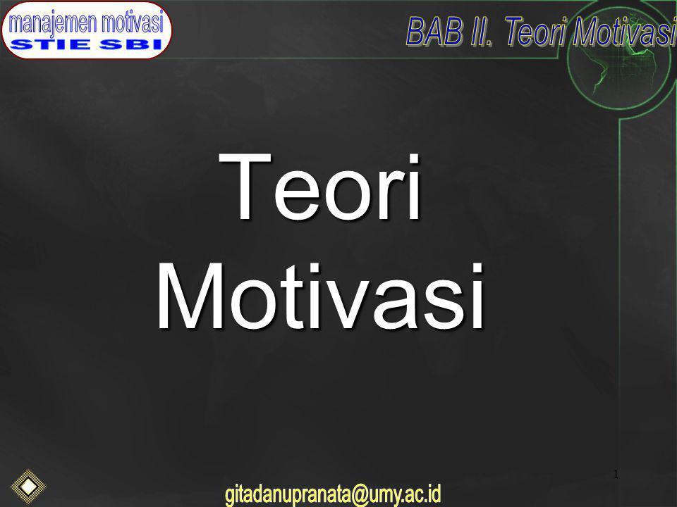 2 Motivasi di tempat kerja Teori klasik Teori perilaku Teori motivasi kontemporer –Model Sumberdaya manusia teori X dan Y –Model hirarkhi kebutuhan dari maslow –Teori dua faktor –Teori ekspektansi –Teori ekuitas