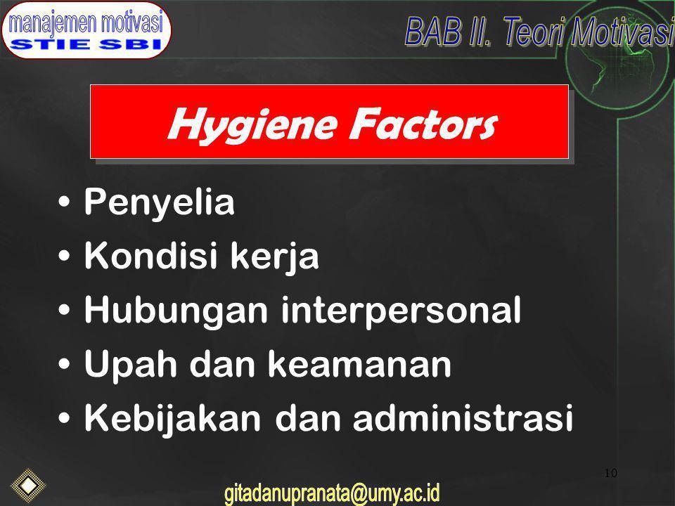 10 Hygiene Factors Penyelia Kondisi kerja Hubungan interpersonal Upah dan keamanan Kebijakan dan administrasi