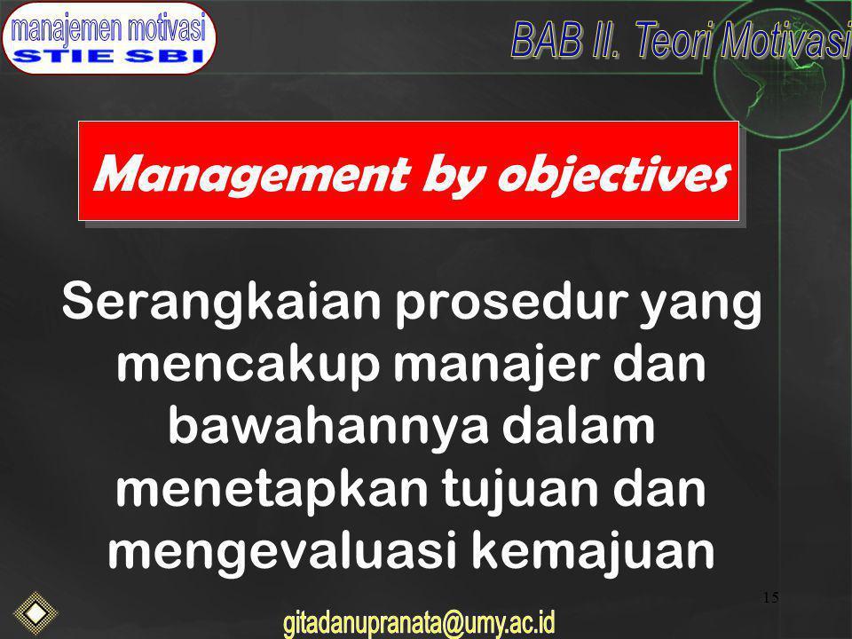 15 Management by objectives Serangkaian prosedur yang mencakup manajer dan bawahannya dalam menetapkan tujuan dan mengevaluasi kemajuan