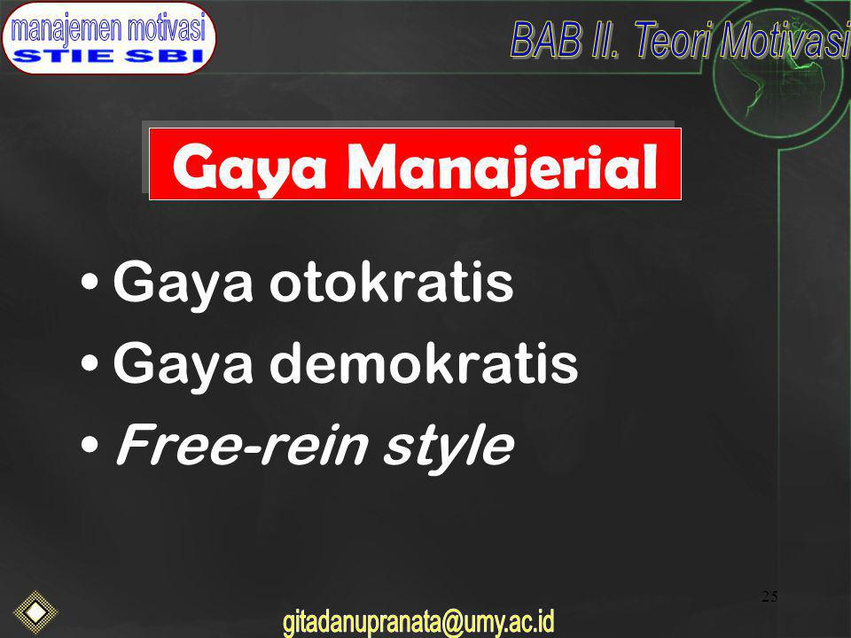 25 Gaya Manajerial Gaya otokratis Gaya demokratis Free-rein style