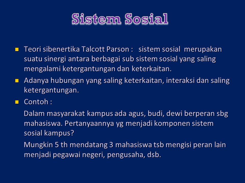 Teori sibenertika Talcott Parson : sistem sosial merupakan suatu sinergi antara berbagai sub sistem sosial yang saling mengalami ketergantungan dan keterkaitan.
