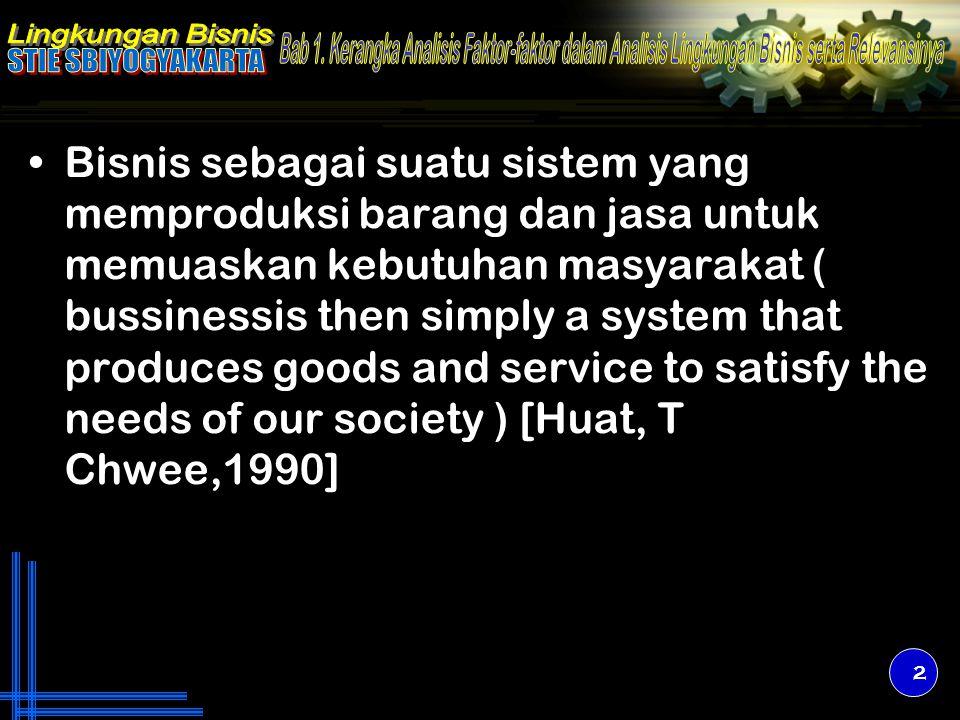 Bisnis sebagai suatu sistem yang memproduksi barang dan jasa untuk memuaskan kebutuhan masyarakat ( bussinessis then simply a system that produces goo