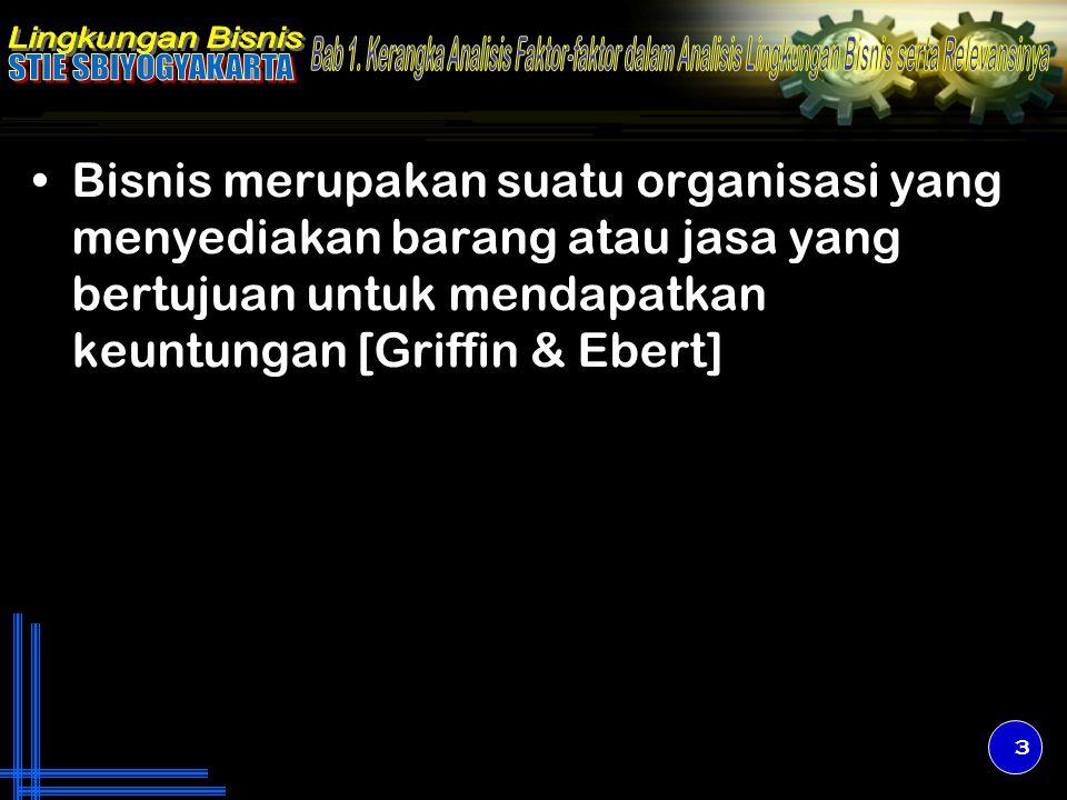 Bisnis merupakan suatu organisasi yang menyediakan barang atau jasa yang bertujuan untuk mendapatkan keuntungan [Griffin & Ebert] 3