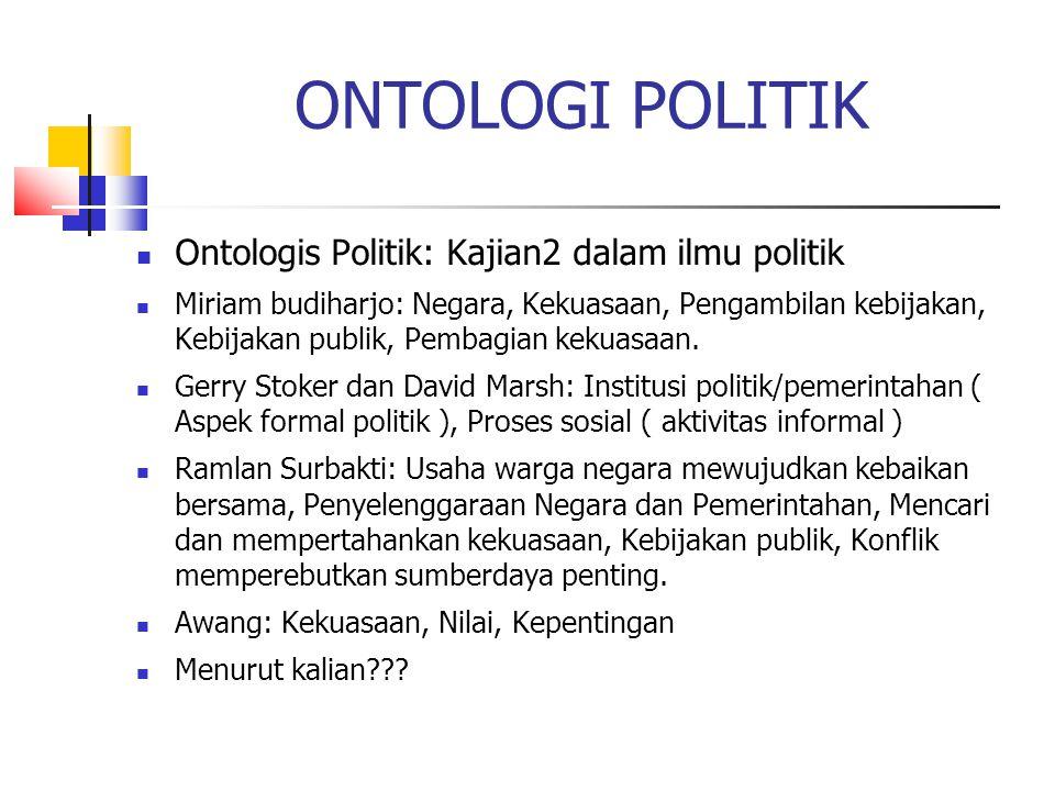 ONTOLOGI POLITIK Ontologis Politik: Kajian2 dalam ilmu politik Miriam budiharjo: Negara, Kekuasaan, Pengambilan kebijakan, Kebijakan publik, Pembagian