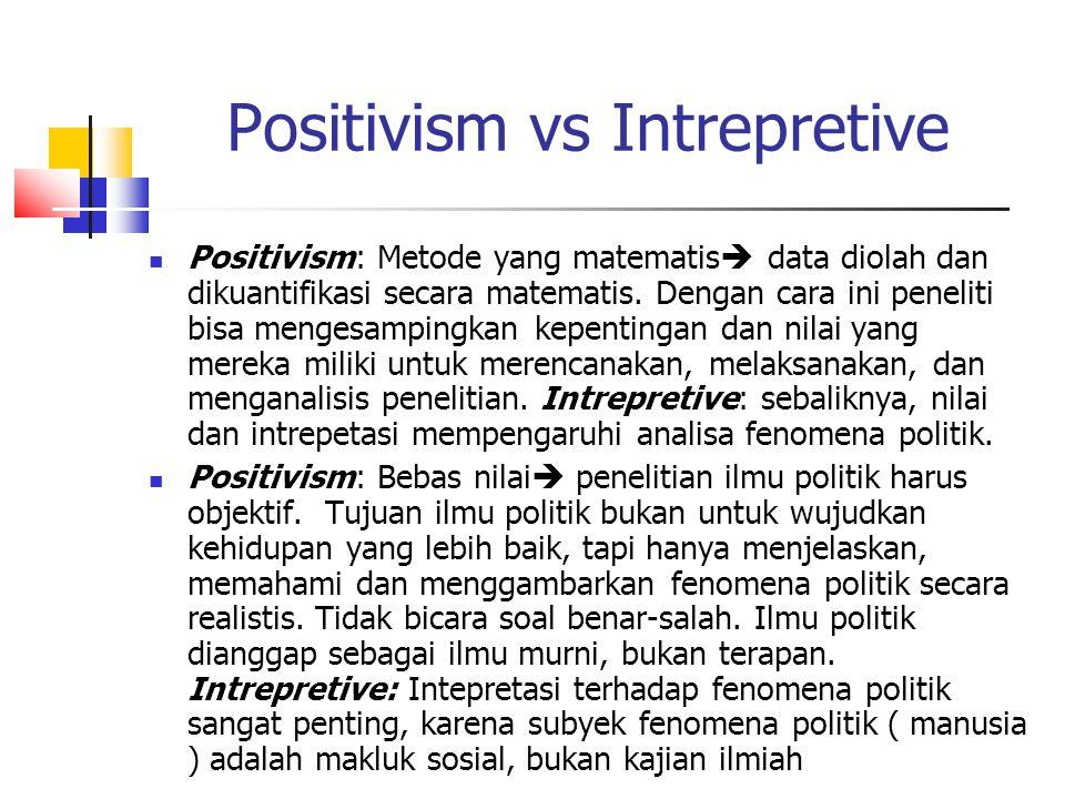 Positivism vs Intrepretive Positivism: Metode yang matematis  data diolah dan dikuantifikasi secara matematis. Dengan cara ini peneliti bisa mengesam