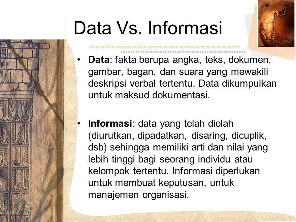 Data Vs. Informasi Data: fakta berupa angka, teks, dokumen, gambar, bagan, dan suara yang mewakili deskripsi verbal tertentu. Data dikumpulkan untuk m