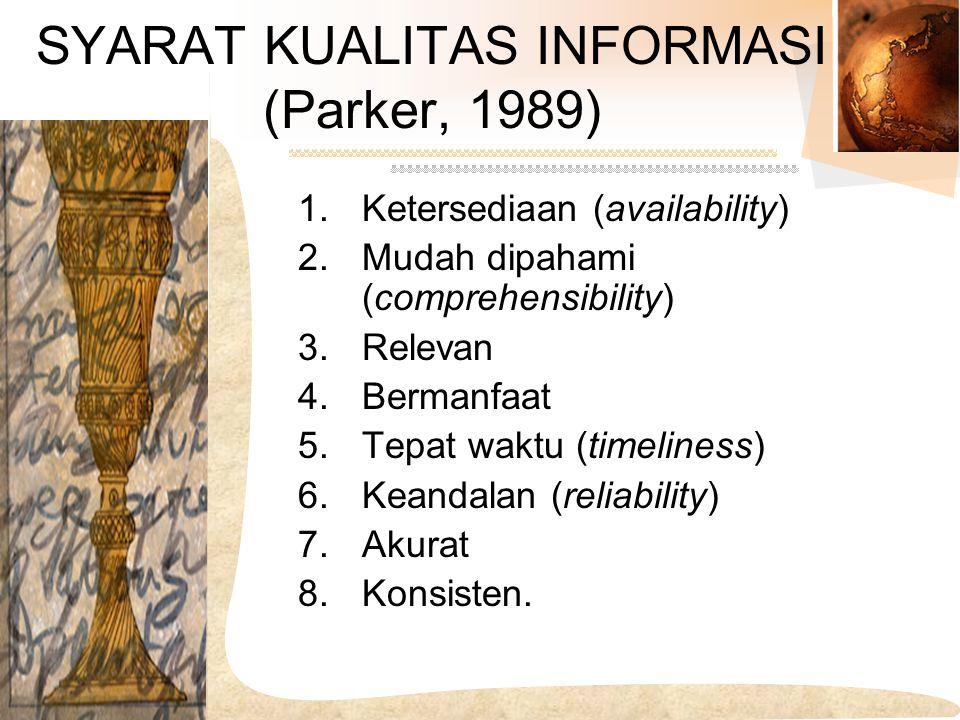 SYARAT KUALITAS INFORMASI (Parker, 1989) 1.Ketersediaan (availability) 2.Mudah dipahami (comprehensibility) 3.Relevan 4.Bermanfaat 5.Tepat waktu (time