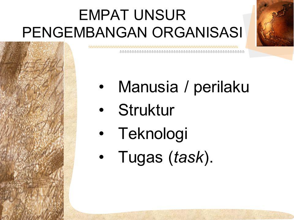 Manusia / perilaku Struktur Teknologi Tugas (task). EMPAT UNSUR PENGEMBANGAN ORGANISASI