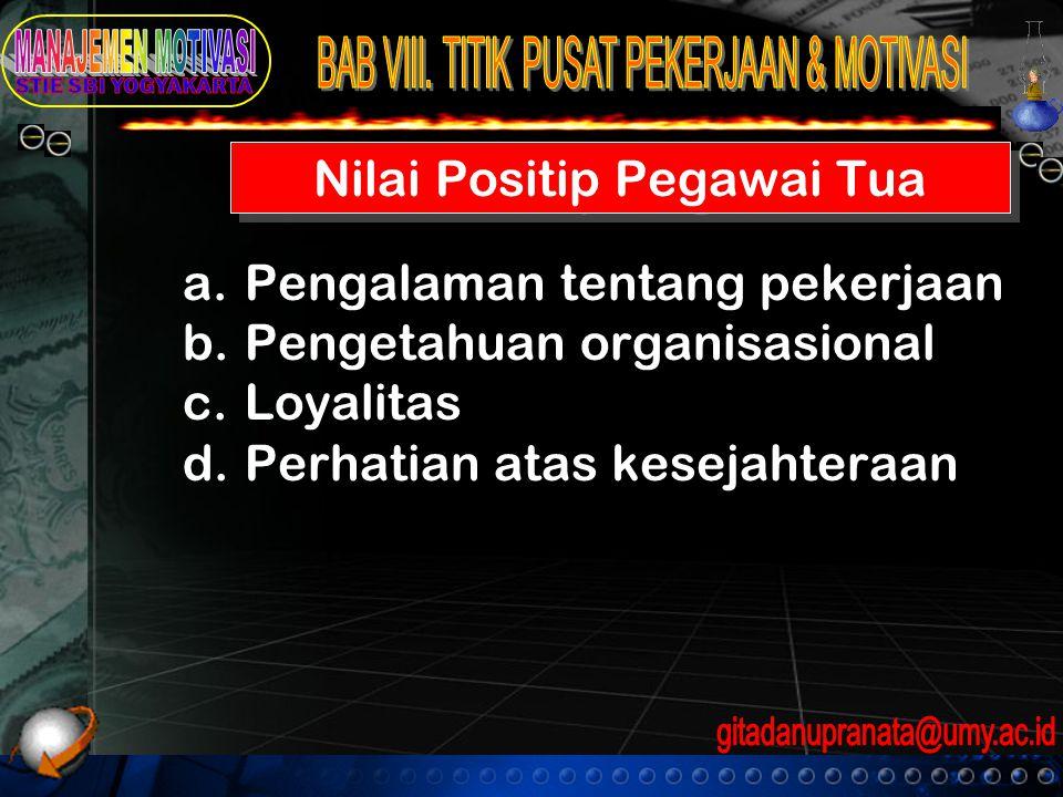 Nilai Positip Pegawai Tua a.Pengalaman tentang pekerjaan b.Pengetahuan organisasional c.Loyalitas d.Perhatian atas kesejahteraan