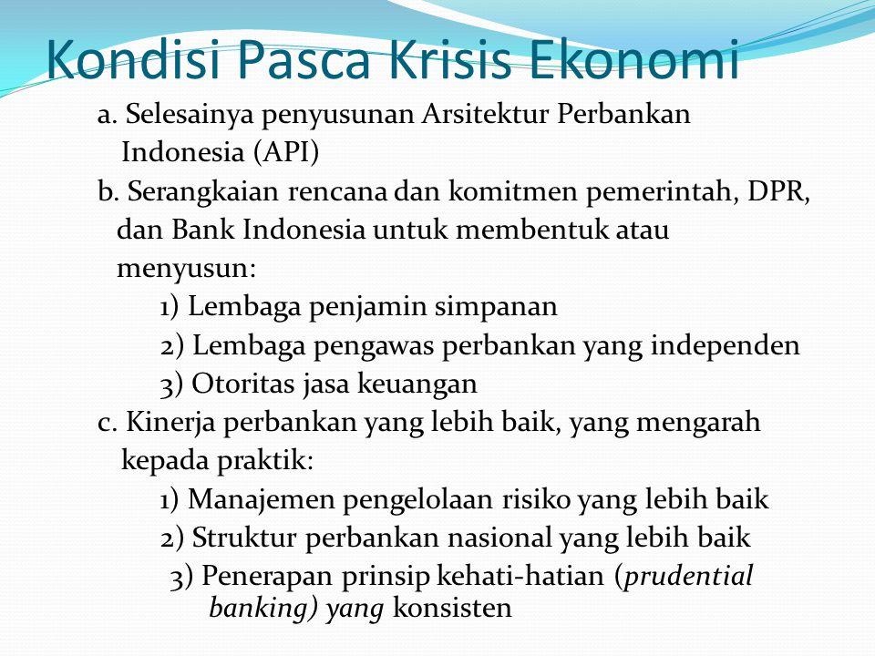Kondisi Pasca Krisis Ekonomi a. Selesainya penyusunan Arsitektur Perbankan Indonesia (API) b.