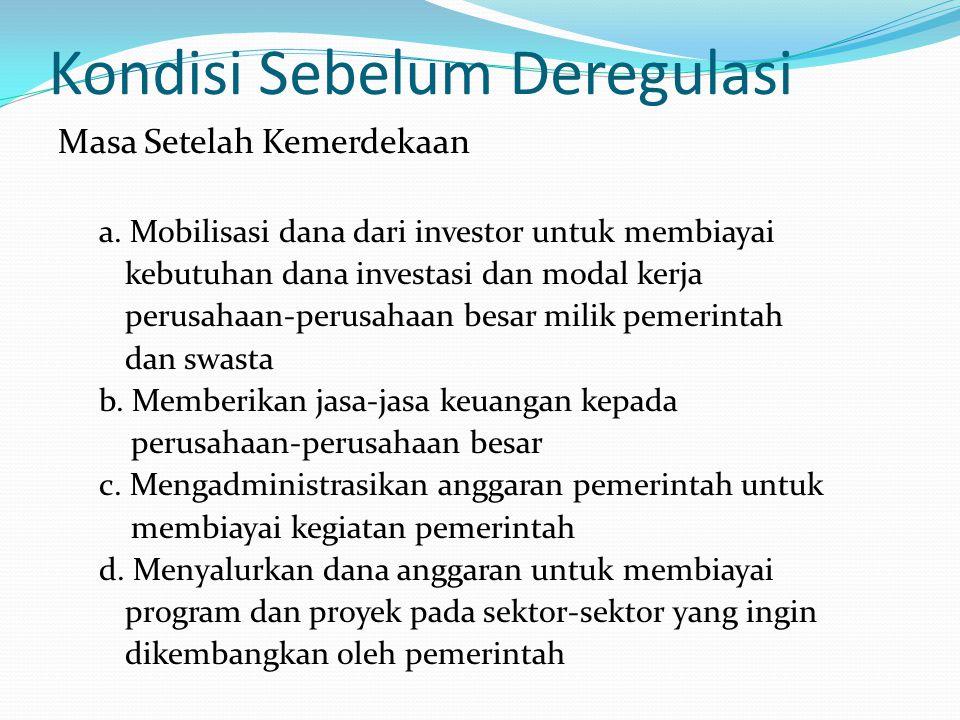 Kondisi Sebelum Deregulasi Keadaan perbankan masa sebelum deregulasi: a.