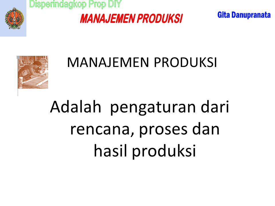 Adalah pengaturan dari rencana, proses dan hasil produksi MANAJEMEN PRODUKSI