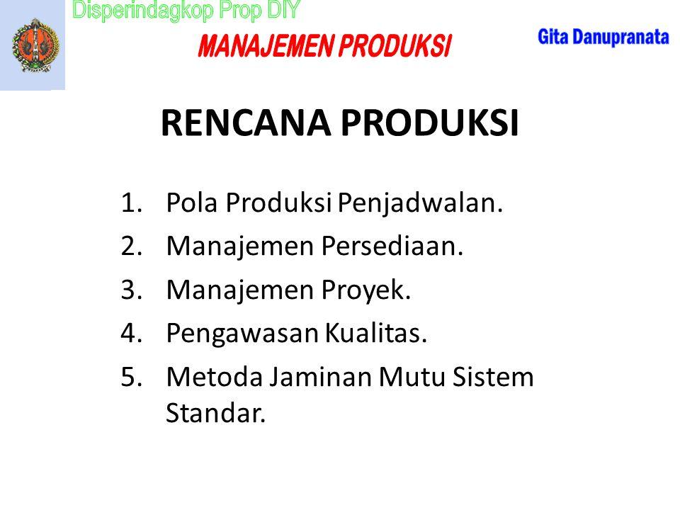 RENCANA PRODUKSI 1.Pola Produksi Penjadwalan. 2.Manajemen Persediaan. 3.Manajemen Proyek. 4.Pengawasan Kualitas. 5.Metoda Jaminan Mutu Sistem Standar.