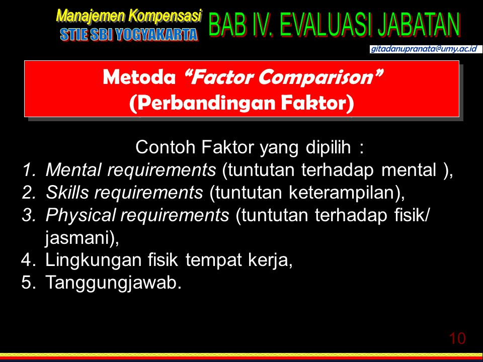 "10 Metoda ""Factor Comparison"" (Perbandingan Faktor) Contoh Faktor yang dipilih : 1.Mental requirements (tuntutan terhadap mental ), 2.Skills requireme"