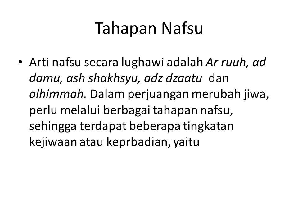 Tahapan Nafsu Arti nafsu secara lughawi adalah Ar ruuh, ad damu, ash shakhsyu, adz dzaatu dan alhimmah.