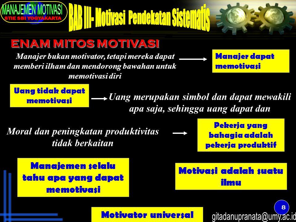 8 ENAM MITOS MOTIVASI Uang tidak dapat memotivasi Pekerja yang bahagia adalah pekerja produktif Motivator universal Manajer bukan motivator, tetapi me