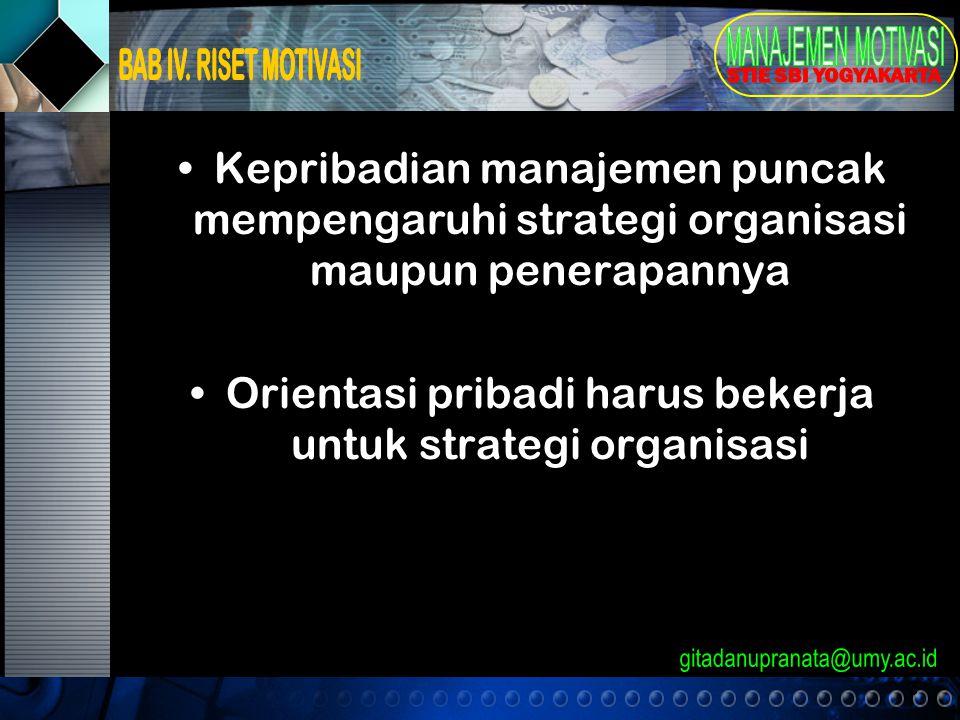 3 Kepribadian manajemen puncak mempengaruhi strategi organisasi maupun penerapannya Orientasi pribadi harus bekerja untuk strategi organisasi