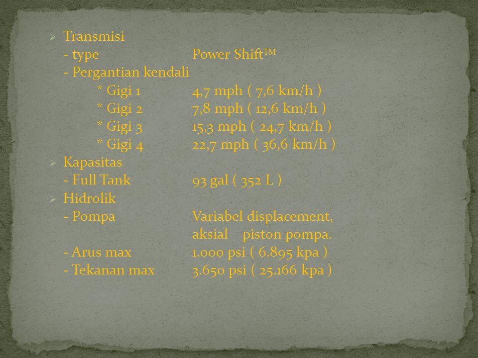  Transmisi - type Power Shift TM - Pergantian kendali * Gigi 1 4,7 mph ( 7,6 km/h ) * Gigi 2 7,8 mph ( 12,6 km/h ) * Gigi 3 15,3 mph ( 24,7 km/h ) * Gigi 4 22,7 mph ( 36,6 km/h )  Kapasitas - Full Tank93 gal ( 352 L )  Hidrolik - PompaVariabel displacement, aksial piston pompa.