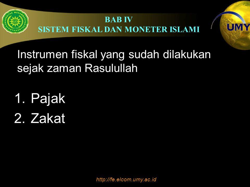 BAB IV SISTEM FISKAL DAN MONETER ISLAMI http://fe.elcom.umy.ac.id Dalam pandangan Islam, mata uang yang dibuat dengan emas (dinar) dan perak (dirham) merupakan mata uang yang paling stabil dan tidak mungkin terjadi krisis moneter karena nilai intrinsik sama dengan nilai riil