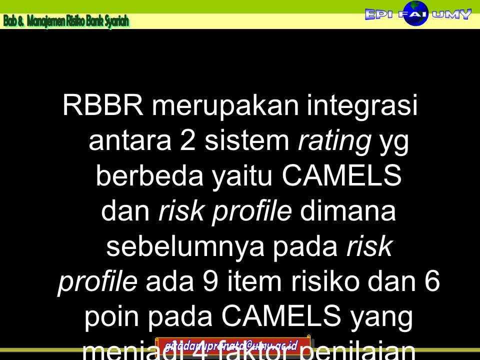 RBBR merupakan integrasi antara 2 sistem rating yg berbeda yaitu CAMELS dan risk profile dimana sebelumnya pada risk profile ada 9 item risiko dan 6 poin pada CAMELS yang menjadi 4 faktor penilaian RBBR menjadi single rating system 10
