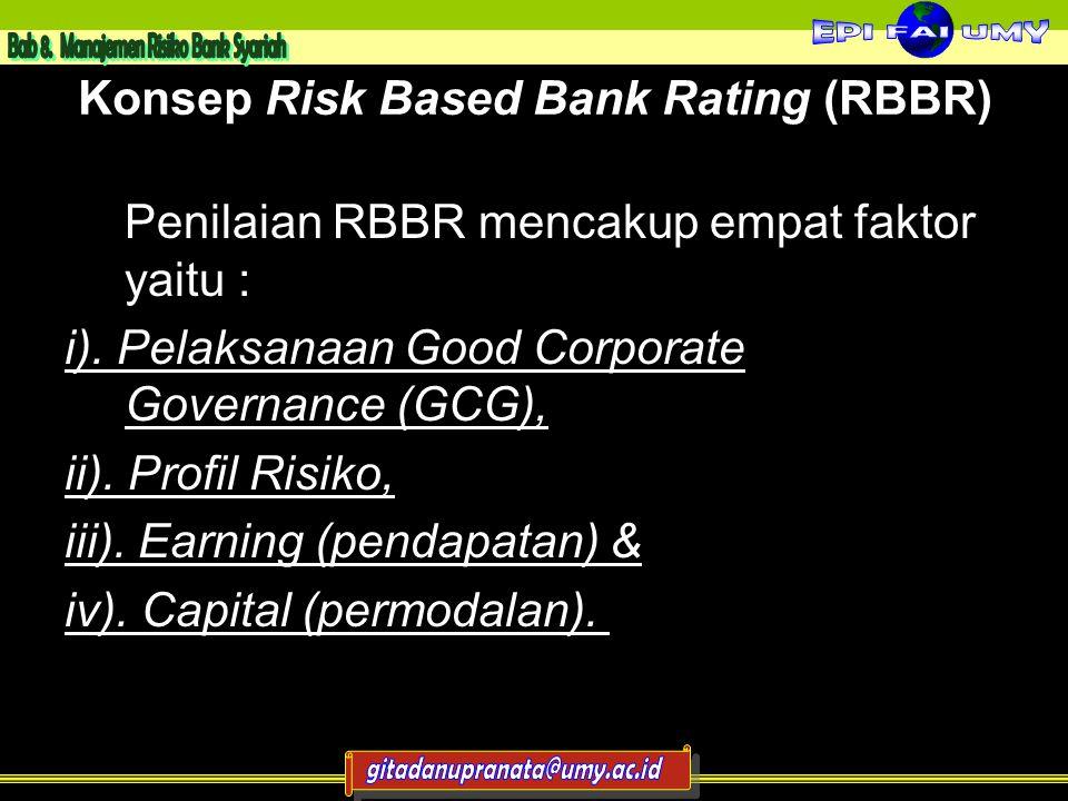 Konsep Risk Based Bank Rating (RBBR) Penilaian RBBR mencakup empat faktor yaitu : i).