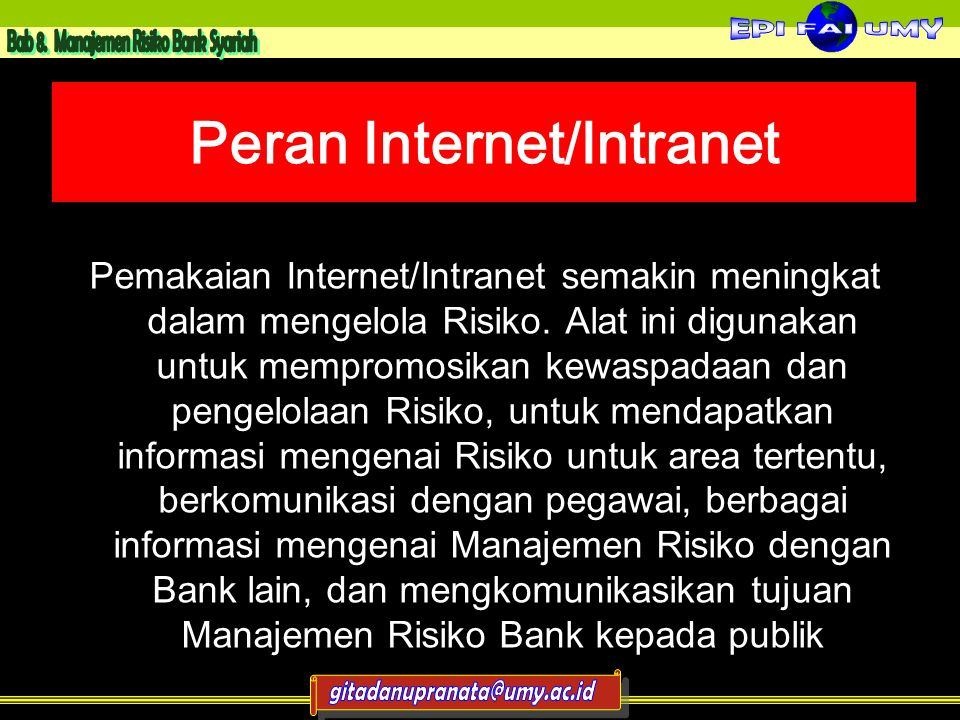 Peran Internet/Intranet Pemakaian Internet/Intranet semakin meningkat dalam mengelola Risiko.