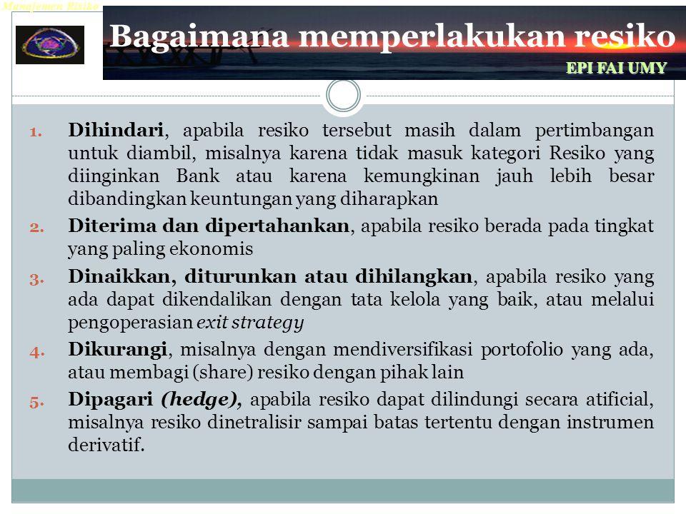 Manajemen Risiko EPI FAI UMY Bagaimana memperlakukan resiko 1.