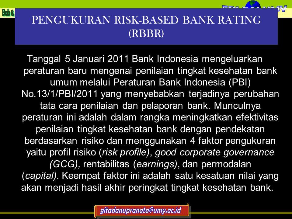 PENGUKURAN RISK-BASED BANK RATING (RBBR) Tanggal 5 Januari 2011 Bank Indonesia mengeluarkan peraturan baru mengenai penilaian tingkat kesehatan bank umum melalui Peraturan Bank Indonesia (PBI) No.13/1/PBI/2011 yang menyebabkan terjadinya perubahan tata cara penilaian dan pelaporan bank.