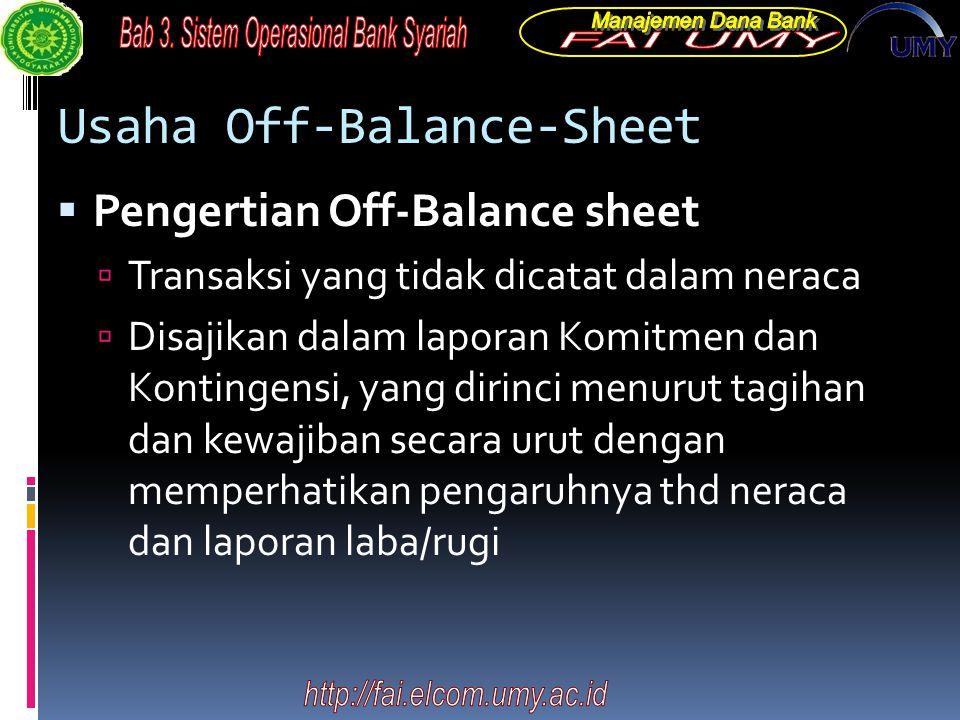 Usaha Off-Balance-Sheet  Pengertian Off-Balance sheet  Transaksi yang tidak dicatat dalam neraca  Disajikan dalam laporan Komitmen dan Kontingensi,