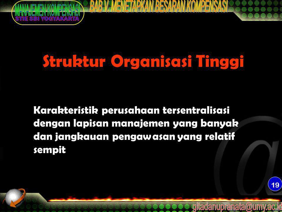 19 Struktur Organisasi Tinggi Karakteristik perusahaan tersentralisasi dengan lapisan manajemen yang banyak dan jangkauan pengawasan yang relatif semp