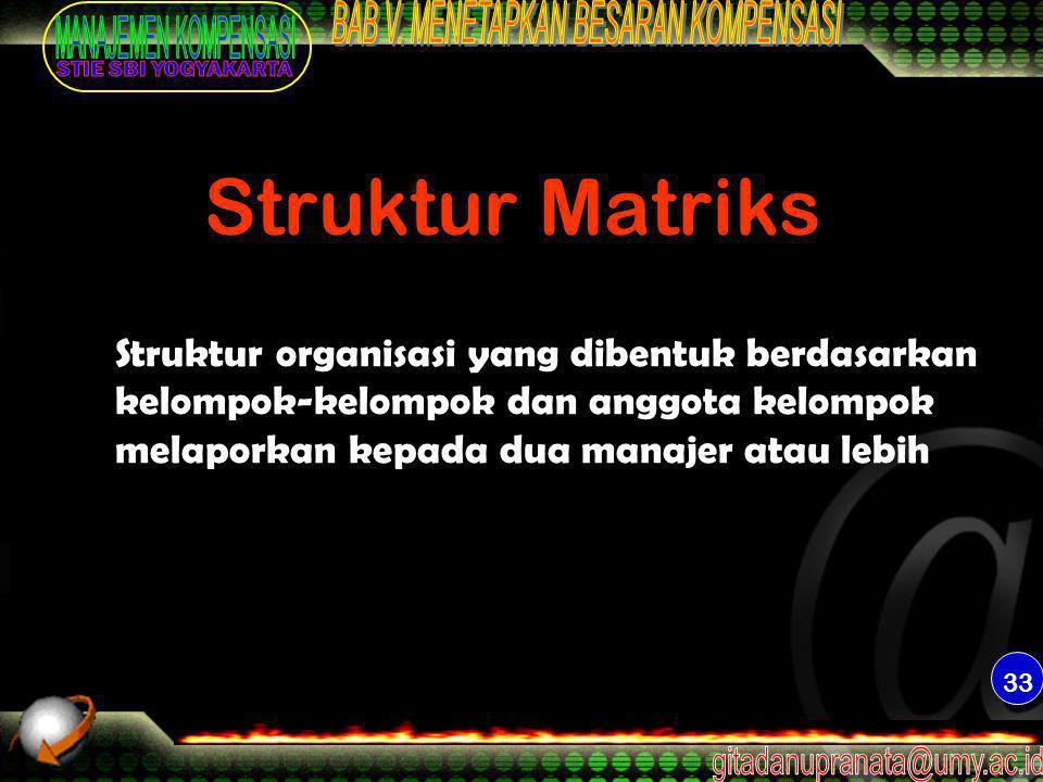 33 Struktur Matriks Struktur organisasi yang dibentuk berdasarkan kelompok-kelompok dan anggota kelompok melaporkan kepada dua manajer atau lebih