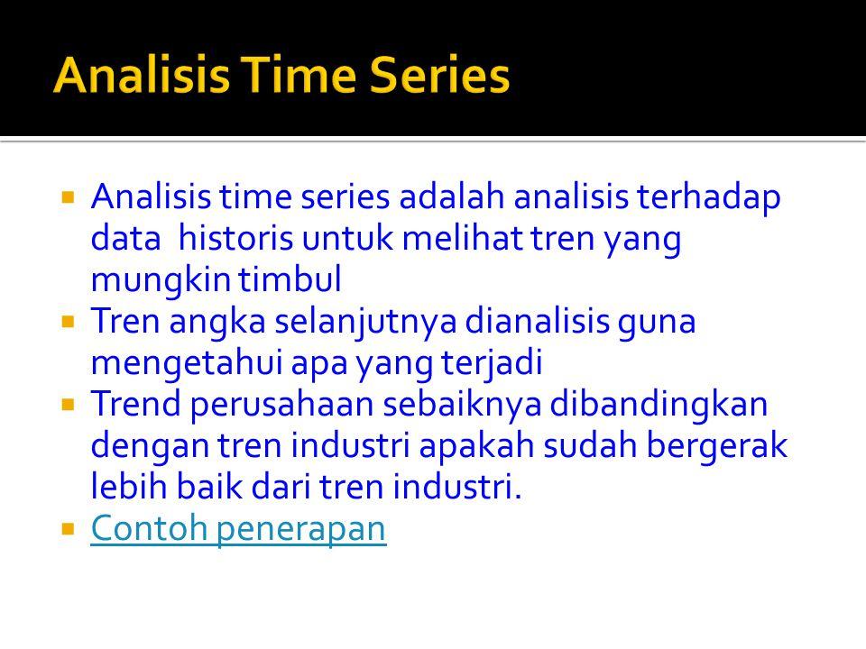  Analisis time series adalah analisis terhadap data historis untuk melihat tren yang mungkin timbul  Tren angka selanjutnya dianalisis guna mengetah