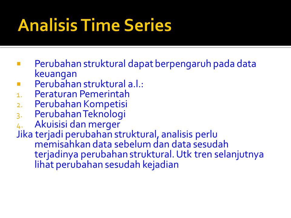  Perubahan struktural dapat berpengaruh pada data keuangan  Perubahan struktural a.l.: 1. Peraturan Pemerintah 2. Perubahan Kompetisi 3. Perubahan T