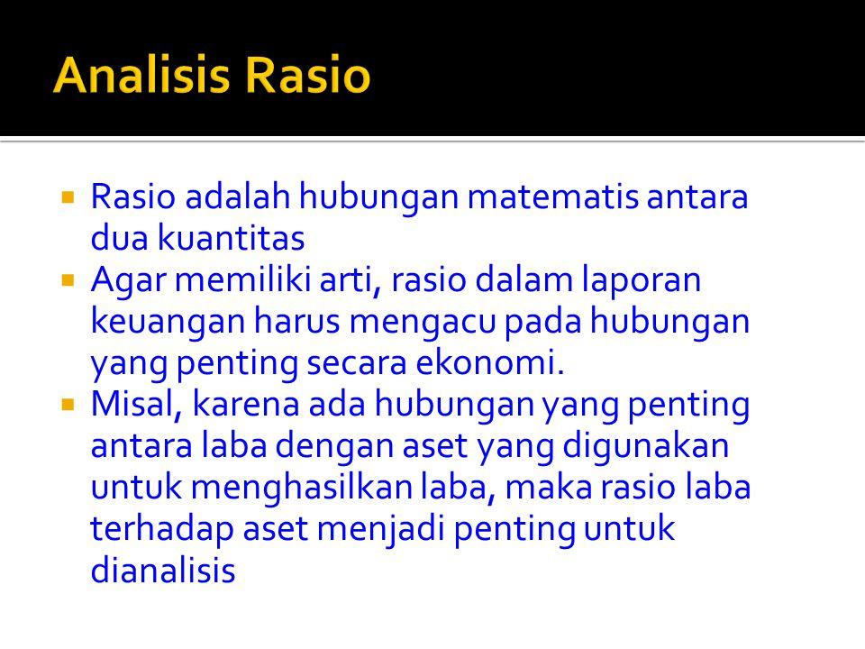  Rasio adalah hubungan matematis antara dua kuantitas  Agar memiliki arti, rasio dalam laporan keuangan harus mengacu pada hubungan yang penting sec