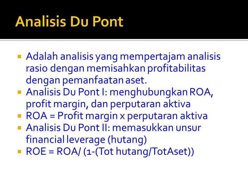  Adalah analisis yang mempertajam analisis rasio dengan memisahkan profitabilitas dengan pemanfaatan aset.  Analisis Du Pont I: menghubungkan ROA, p