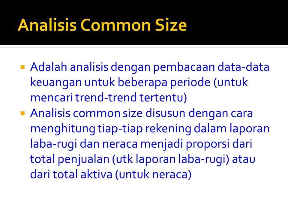  Adalah analisis dengan pembacaan data-data keuangan untuk beberapa periode (untuk mencari trend-trend tertentu)  Analisis common size disusun denga