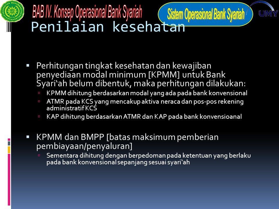 Penilaian kesehatan  Perhitungan tingkat kesehatan dan kewajiban penyediaan modal minimum [KPMM] untuk Bank Syari'ah belum dibentuk, maka perhitungan