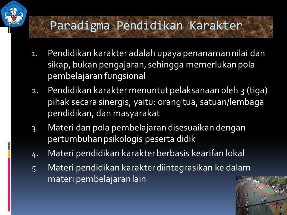 Paradigma Pendidikan Karakter 1. Pendidikan karakter adalah upaya penanaman nilai dan sikap, bukan pengajaran, sehingga memerlukan pola pembelajaran f