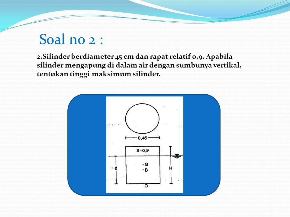 2.Silinder berdiameter 45 cm dan rapat relatif 0,9. Apabila silinder mengapung di dalam air dengan sumbunya vertikal, tentukan tinggi maksimum silinde