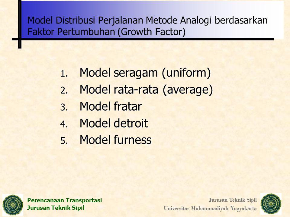 Perencanaan Transportasi Jurusan Teknik Sipil Universitas Muhammadiyah Yogyakarta Model Distribusi Perjalanan Metode Analogi berdasarkan Faktor Pertum