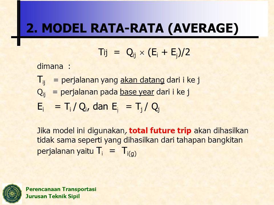 Perencanaan Transportasi Jurusan Teknik Sipil 2. MODEL RATA-RATA (AVERAGE) T ij = Q ij  (E i + E j )/2 dimana : T ij = perjalanan yang akan datang da
