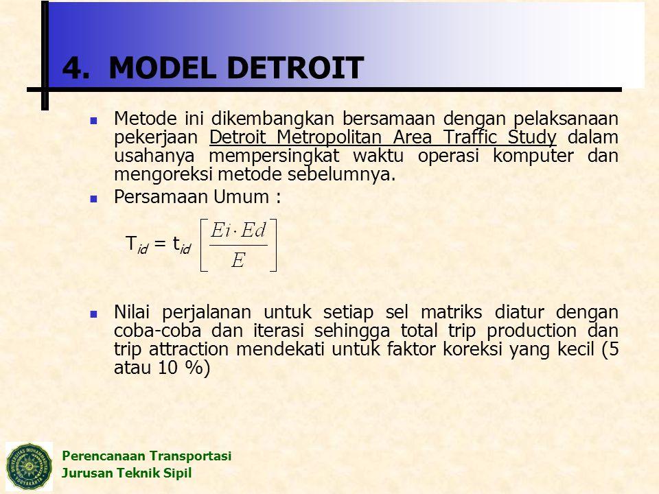 Perencanaan Transportasi Jurusan Teknik Sipil 4. MODEL DETROIT Metode ini dikembangkan bersamaan dengan pelaksanaan pekerjaan Detroit Metropolitan Are