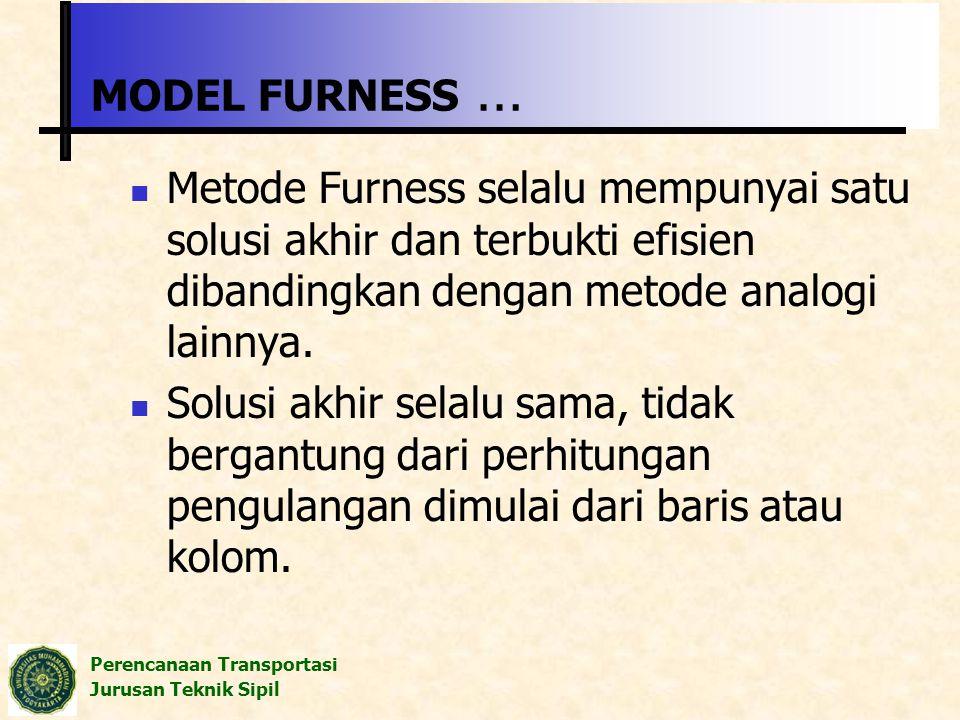 Perencanaan Transportasi Jurusan Teknik Sipil MODEL FURNESS … Metode Furness selalu mempunyai satu solusi akhir dan terbukti efisien dibandingkan deng