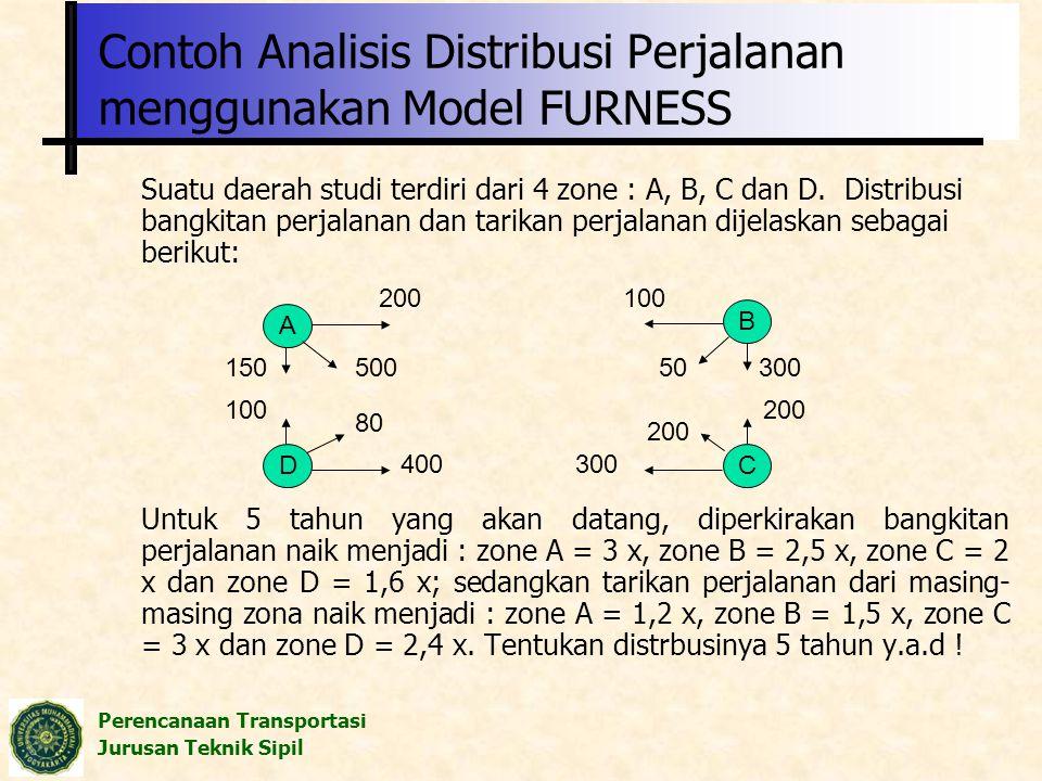Perencanaan Transportasi Jurusan Teknik Sipil Contoh Analisis Distribusi Perjalanan menggunakan Model FURNESS Suatu daerah studi terdiri dari 4 zone :