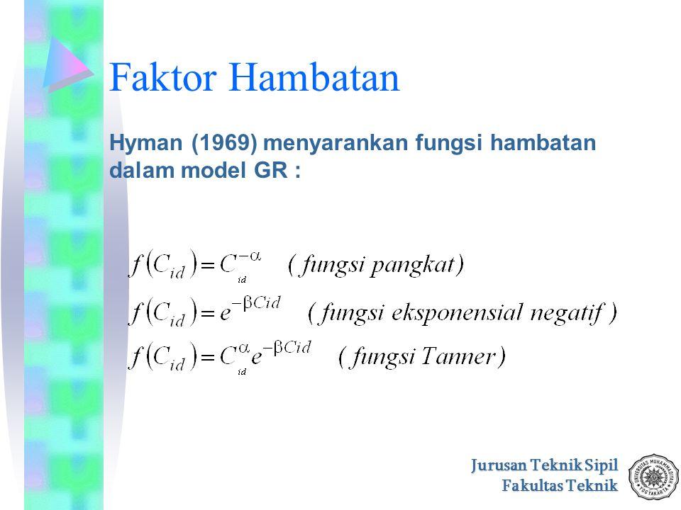 Jurusan Teknik Sipil Fakultas Teknik Faktor Hambatan Hyman (1969) menyarankan fungsi hambatan dalam model GR :
