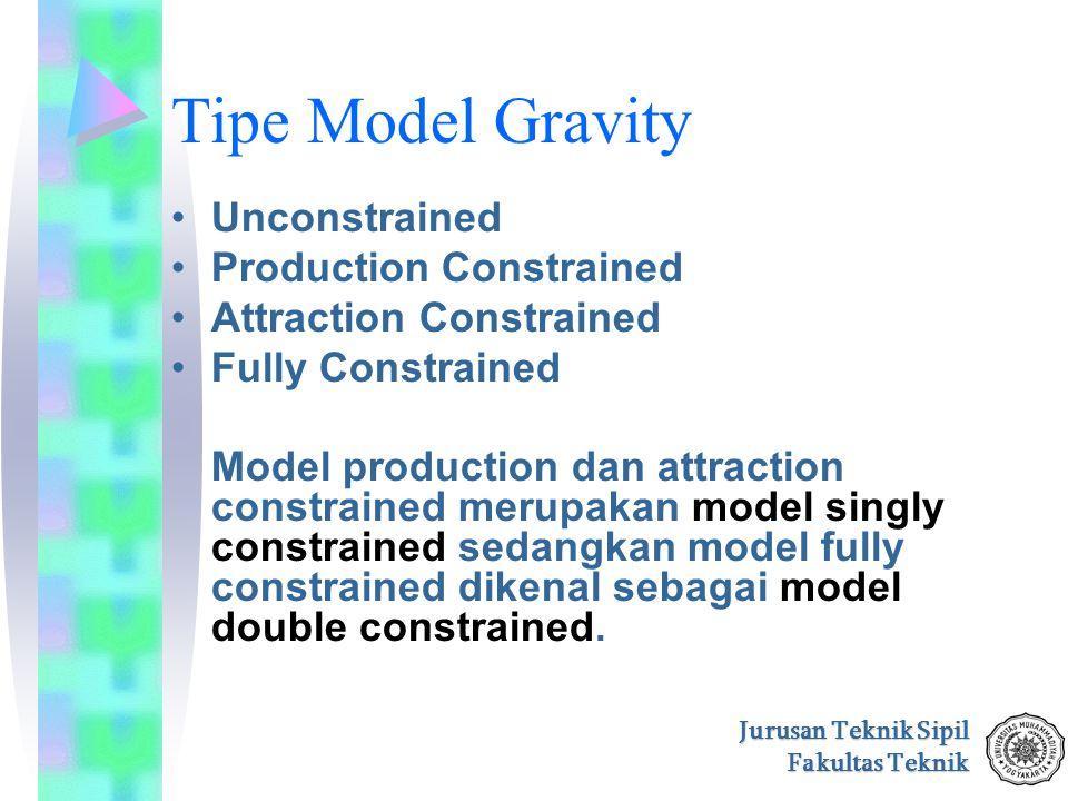 Jurusan Teknik Sipil Fakultas Teknik Tipe Model Gravity Unconstrained Production Constrained Attraction Constrained Fully Constrained Model production