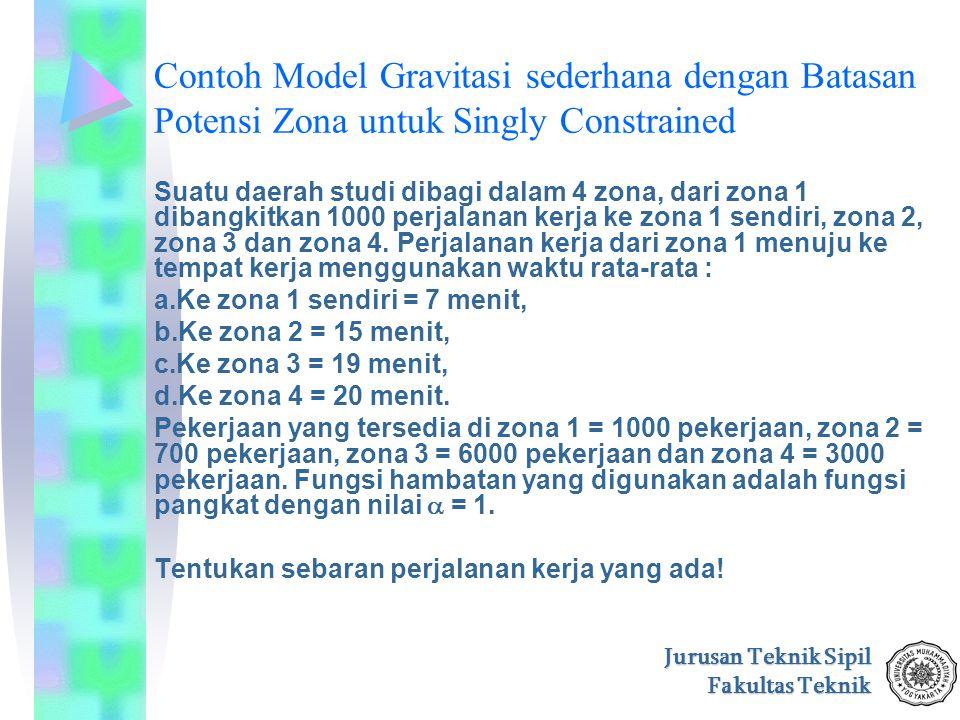 Jurusan Teknik Sipil Fakultas Teknik Contoh Model Gravitasi sederhana dengan Batasan Potensi Zona untuk Singly Constrained Suatu daerah studi dibagi d