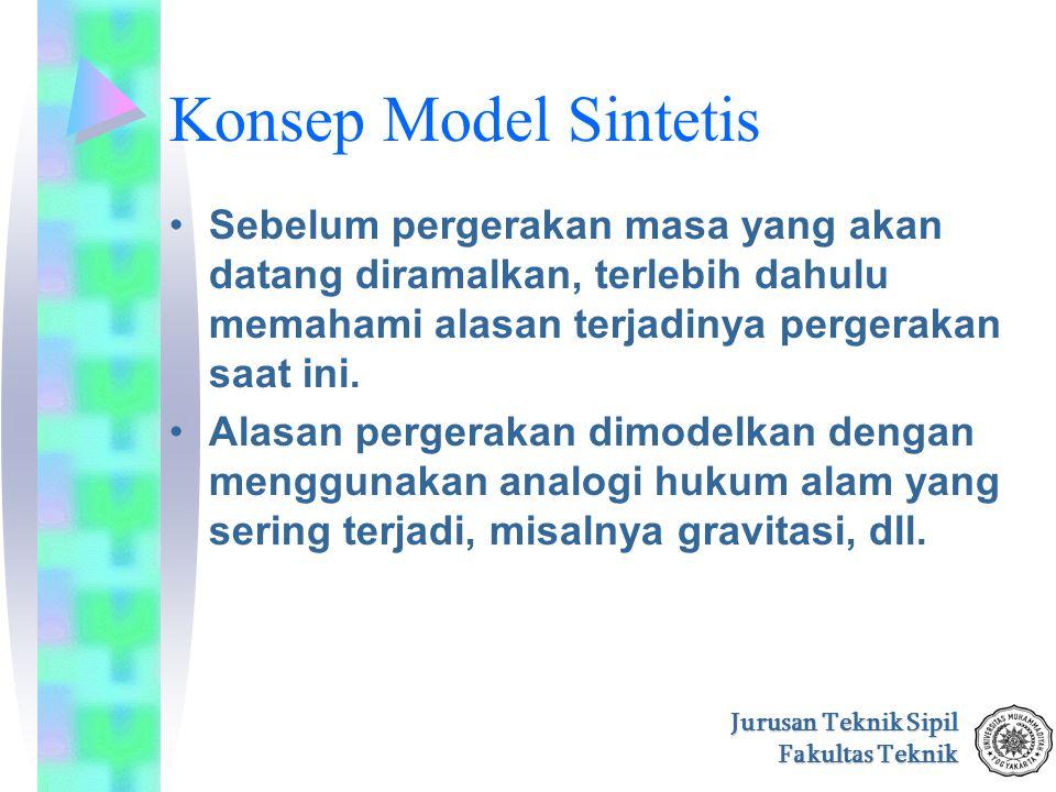 Jurusan Teknik Sipil Fakultas Teknik Konsep Model Sintetis Sebelum pergerakan masa yang akan datang diramalkan, terlebih dahulu memahami alasan terjad
