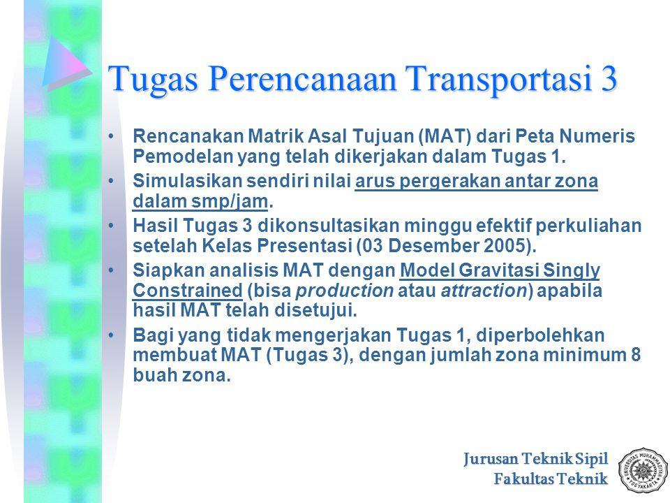 Jurusan Teknik Sipil Fakultas Teknik Tugas Perencanaan Transportasi 3 Rencanakan Matrik Asal Tujuan (MAT) dari Peta Numeris Pemodelan yang telah diker
